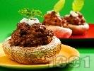 Рецепта Пълнени гъби печурки с телешка кайма, спанак и моцарела на фурна